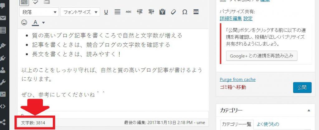 ブログ記事文字数